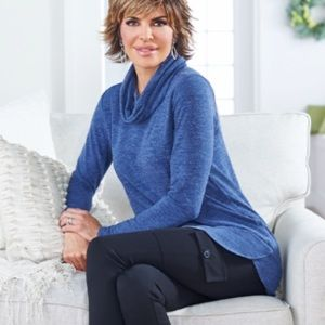 Lisa rinna high low cow neck sweater tunic
